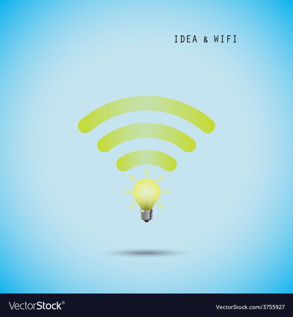 Creative light bulb concept and wifi sign vector | Price: 1 Credit (USD $1)