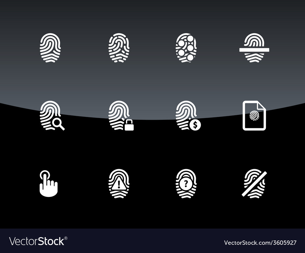 Finger scanner icons on black background vector | Price: 1 Credit (USD $1)