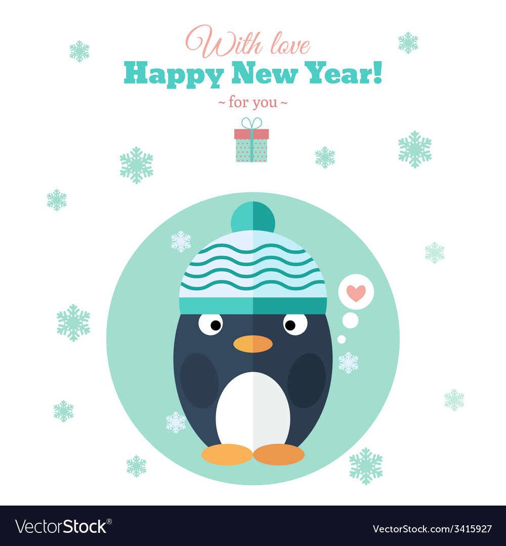 Holiday card with penguin in flat vector | Price: 1 Credit (USD $1)