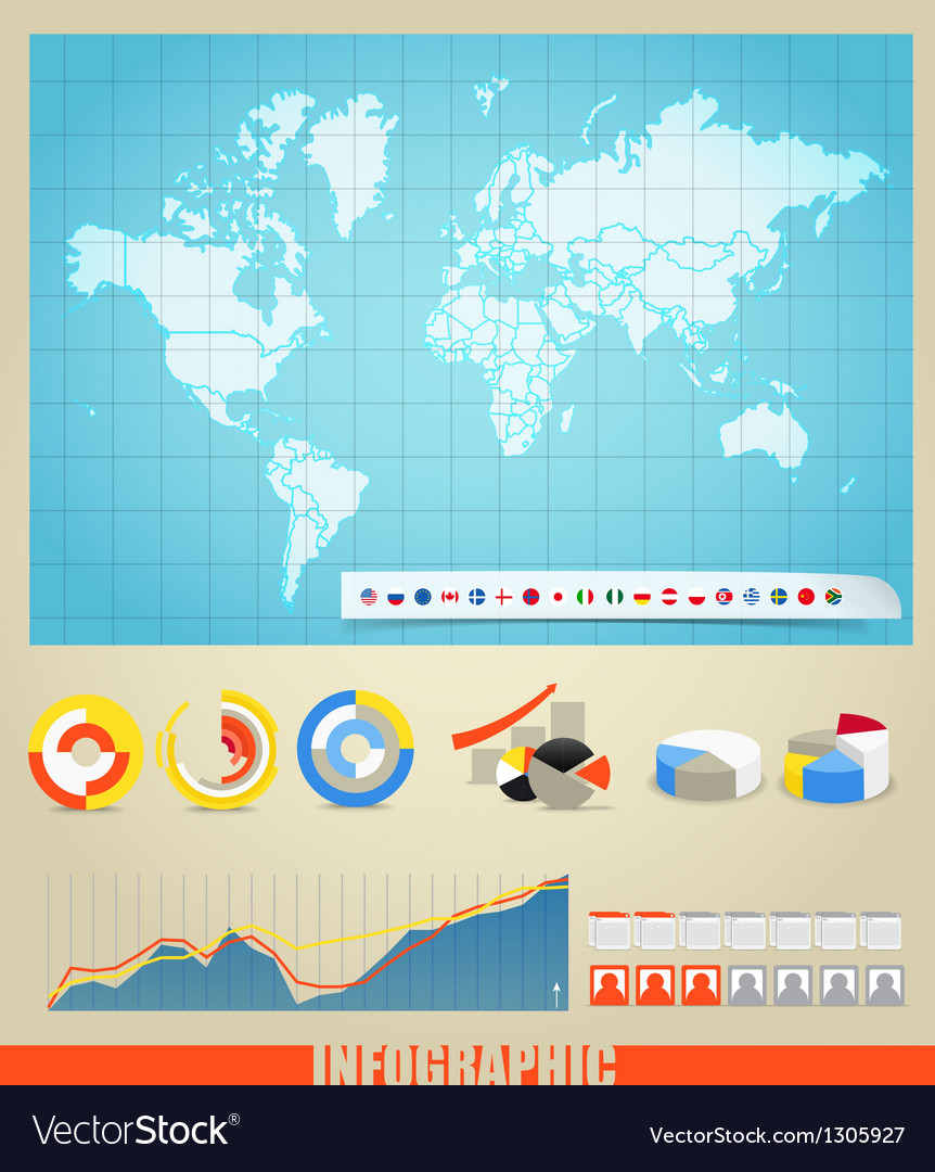 Infographic elements and the world map vector | Price: 1 Credit (USD $1)