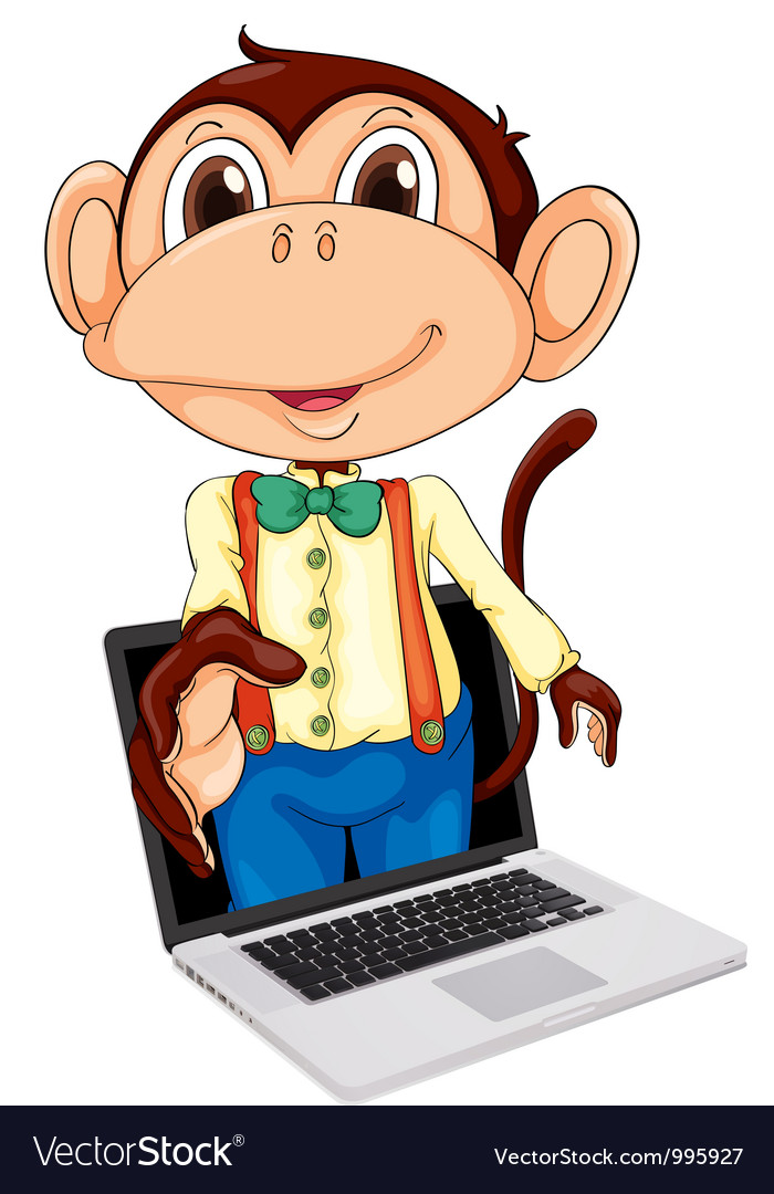 Monkey laptop display vector | Price: 1 Credit (USD $1)