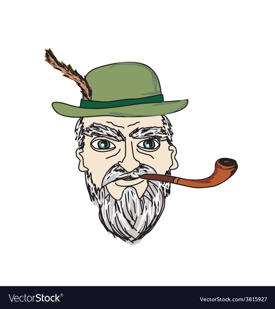 Old man smoking pipe vector | Price: 1 Credit (USD $1)