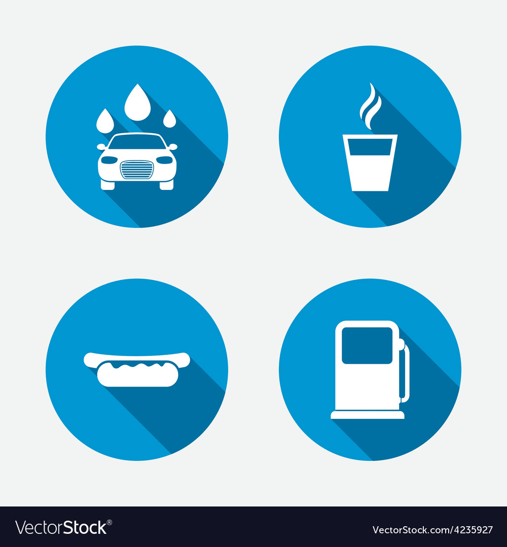 Petrol or gas station services icons car wash vector | Price: 1 Credit (USD $1)