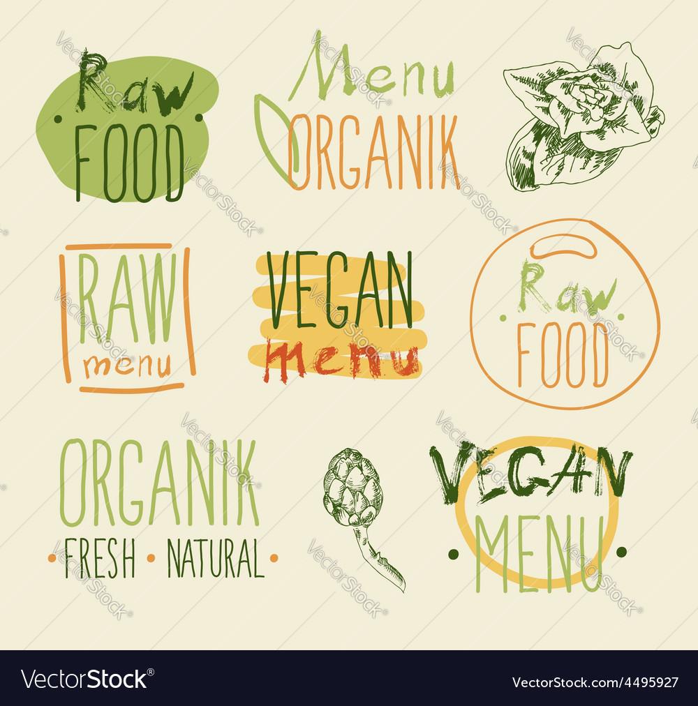 Raw vegan food calligraphy vector   Price: 1 Credit (USD $1)