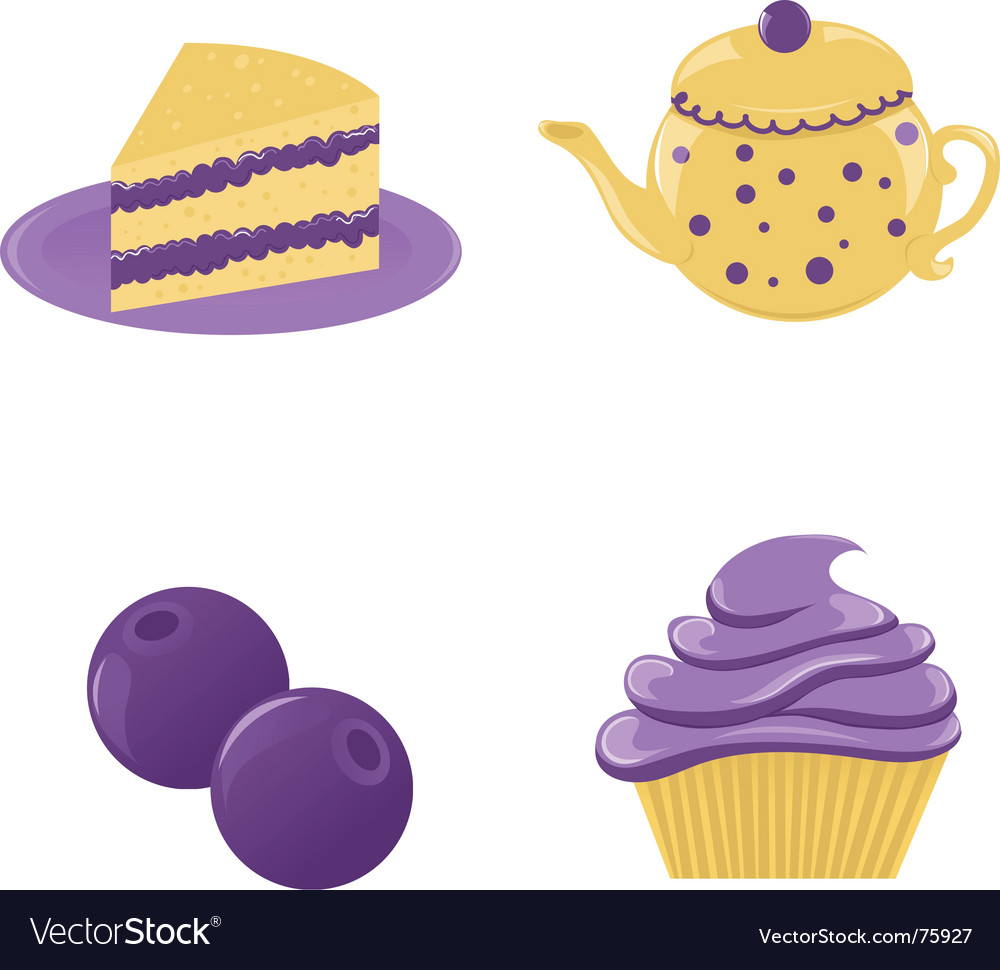Set of blueberry desserts vector | Price: 1 Credit (USD $1)