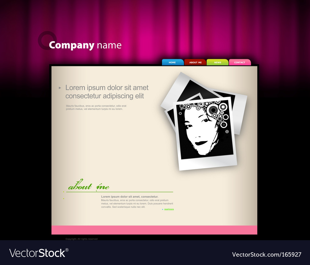Website template with photo vector | Price: 1 Credit (USD $1)