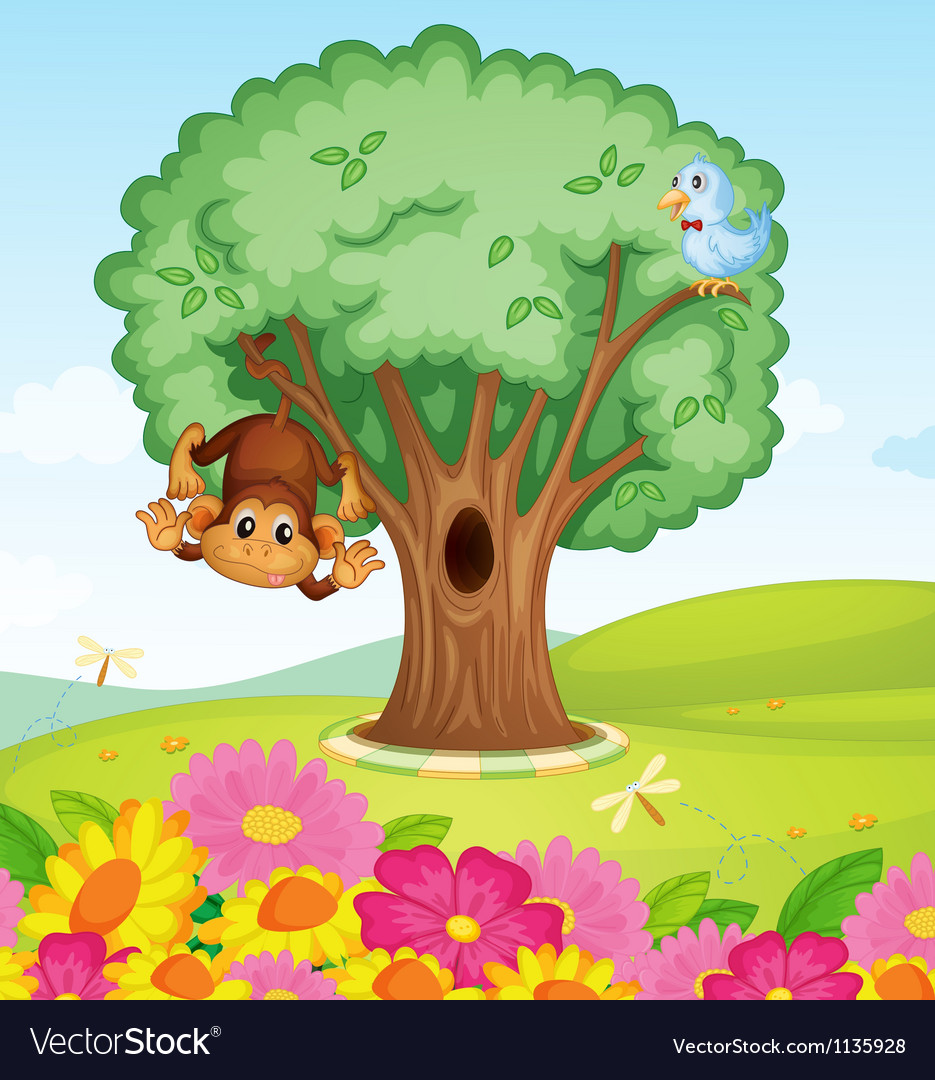 A monkey a bird and a tree vector | Price: 1 Credit (USD $1)