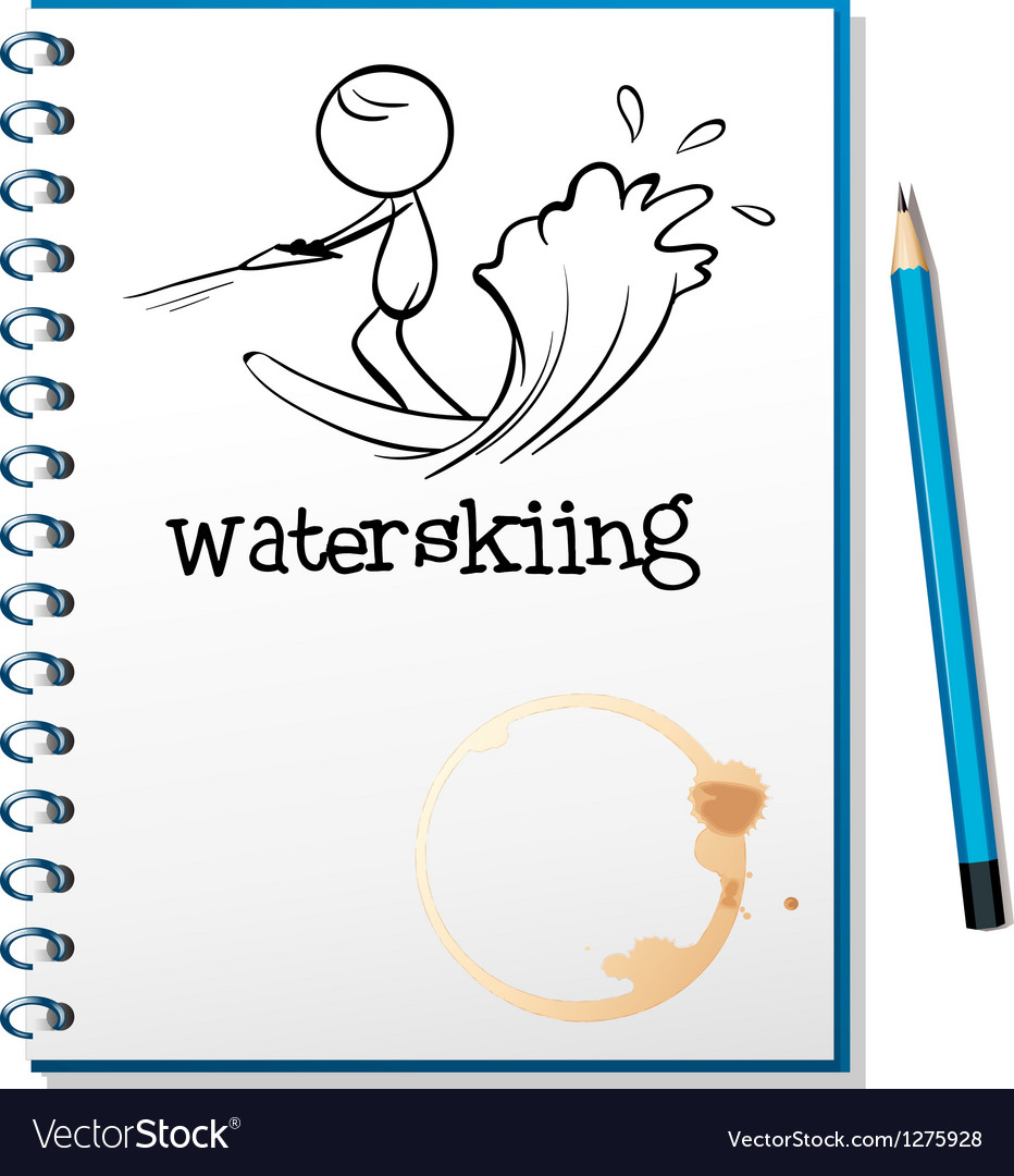 A notebook with a sketch of a person waterskiing vector | Price: 1 Credit (USD $1)