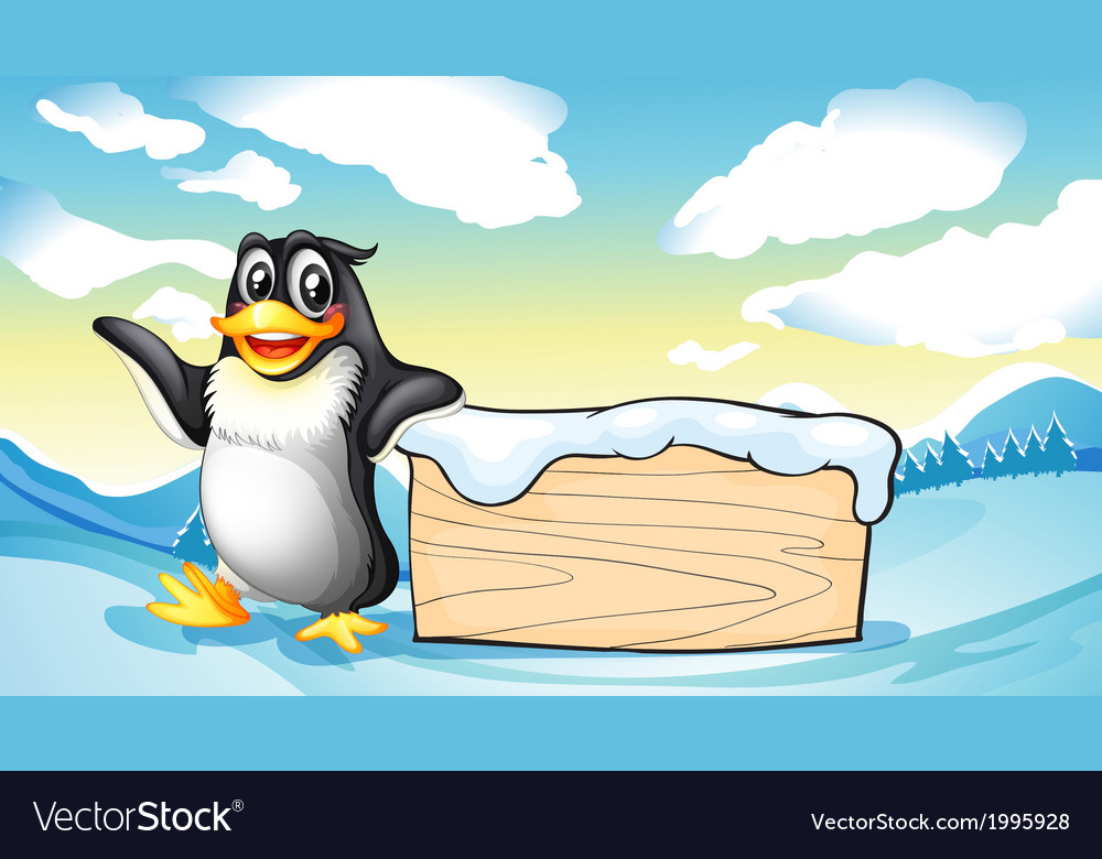 A penguin beside the empty wooden board vector | Price: 3 Credit (USD $3)