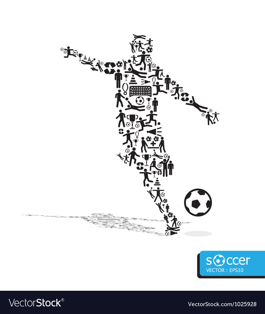 Active soccer player shape with icons vector | Price: 1 Credit (USD $1)