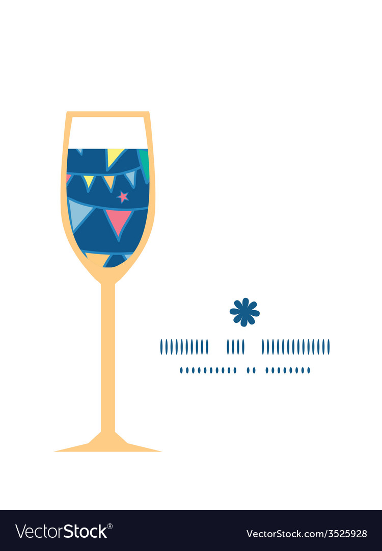Colorful doodle bunting flags wine glass vector | Price: 1 Credit (USD $1)