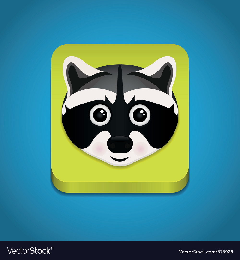Icon with raccoon face vector | Price: 1 Credit (USD $1)