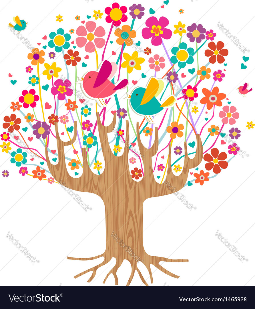 Isolated spring time tree vector | Price: 1 Credit (USD $1)