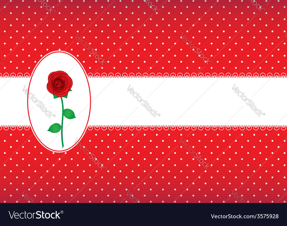 Polka dot card with rose vector | Price: 1 Credit (USD $1)