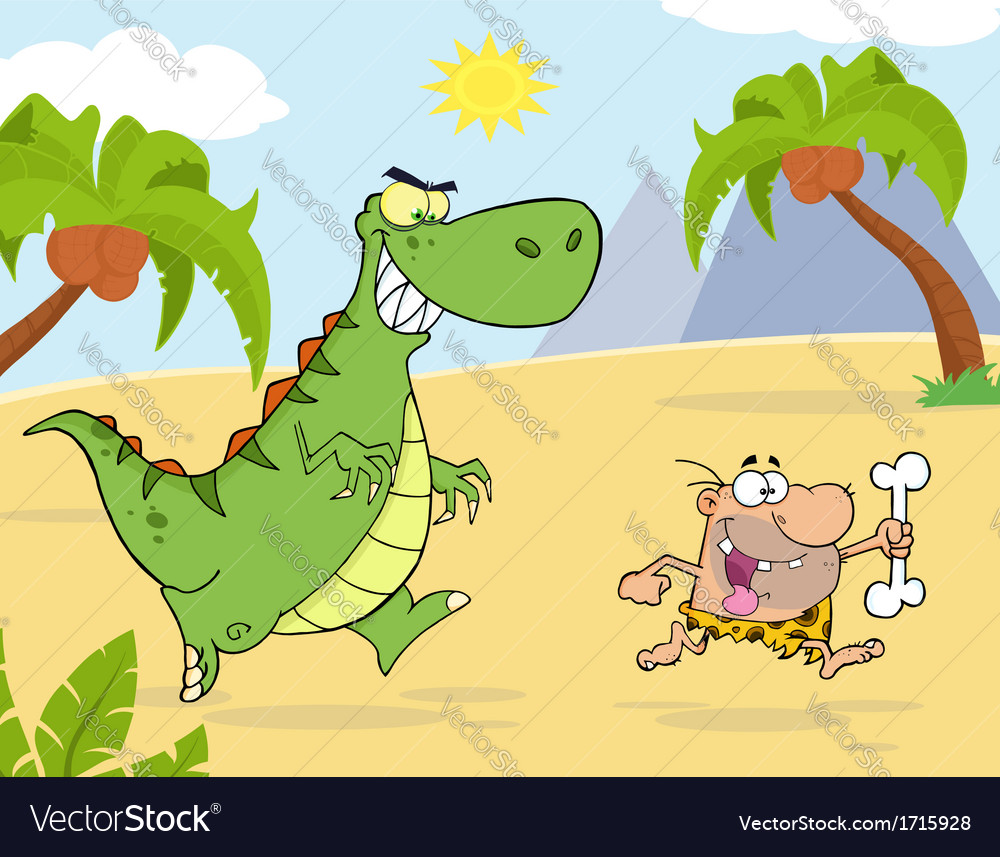 Royalty free rf clipart angry dinosaur chasing vector | Price: 1 Credit (USD $1)