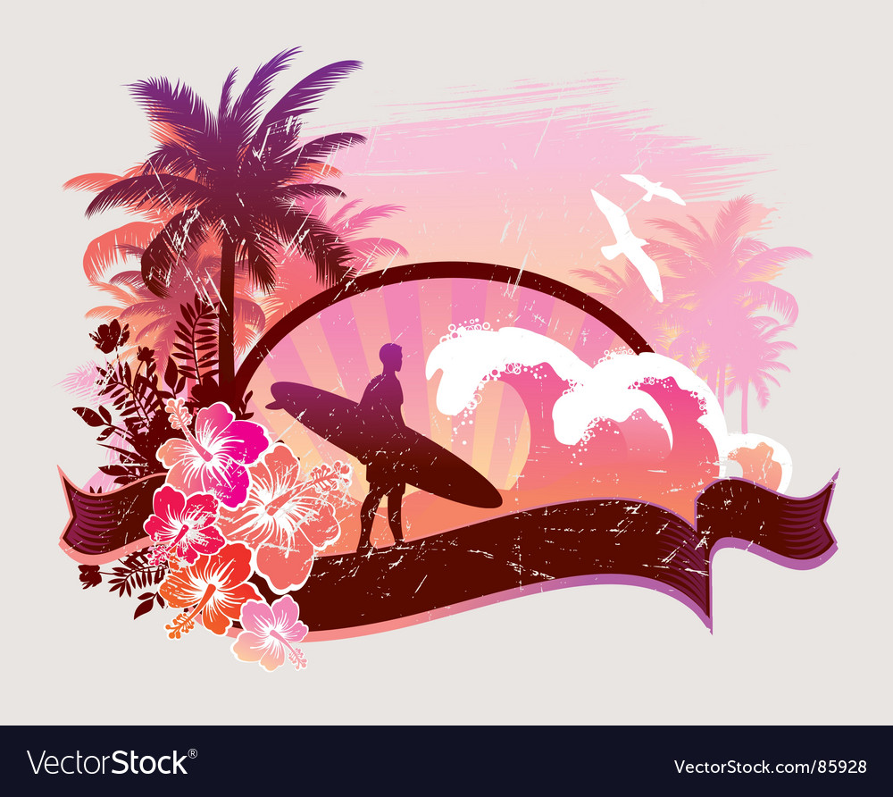Surfer on a beach vector | Price: 1 Credit (USD $1)