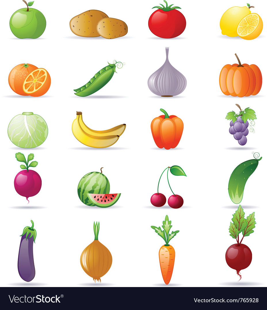 Vegetables and fruit icon set vector | Price: 3 Credit (USD $3)