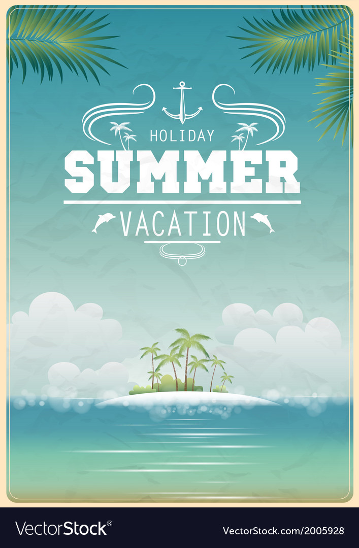Vintage seaside view poster vector | Price: 1 Credit (USD $1)