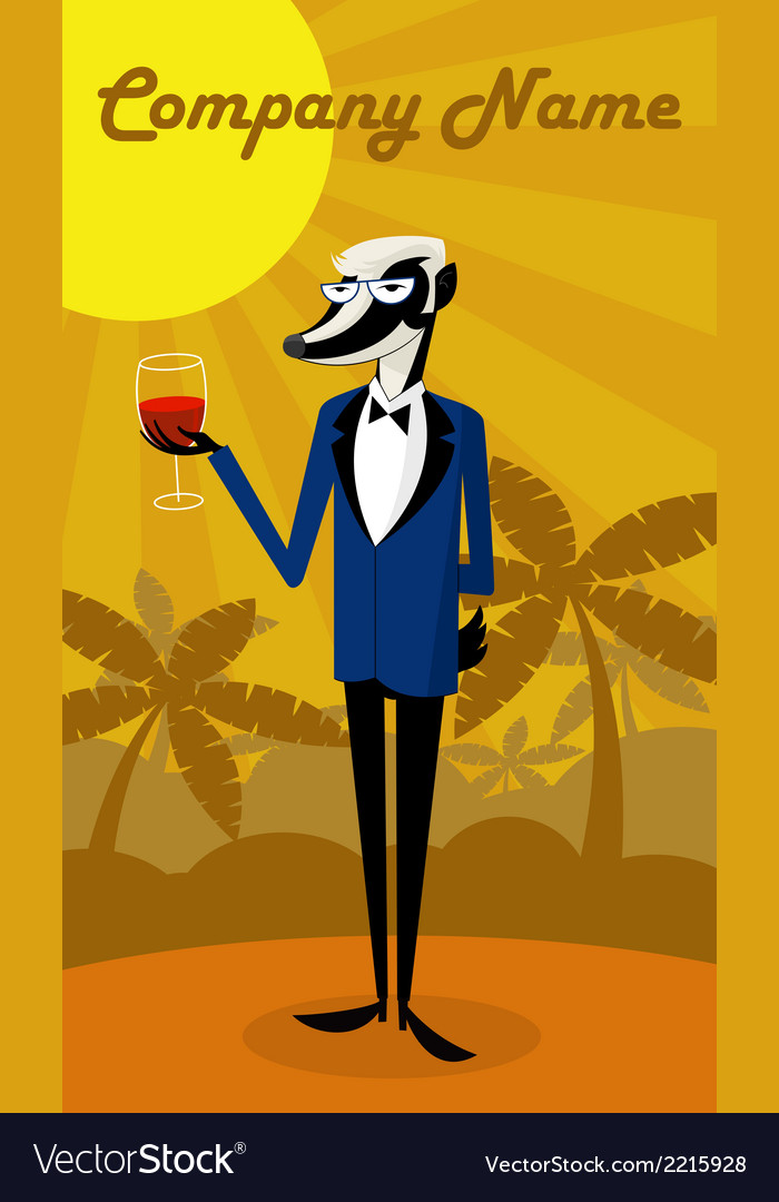 Wine badger vector | Price: 1 Credit (USD $1)