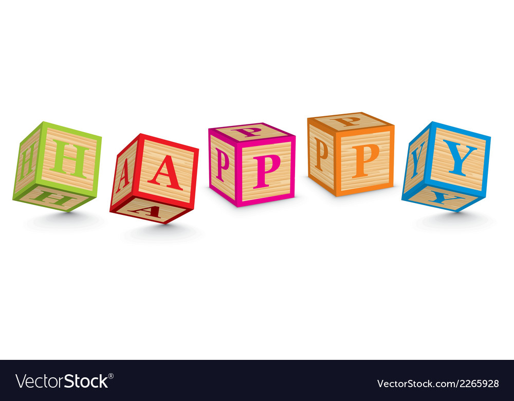 Word happy written with alphabet blocks vector | Price: 1 Credit (USD $1)