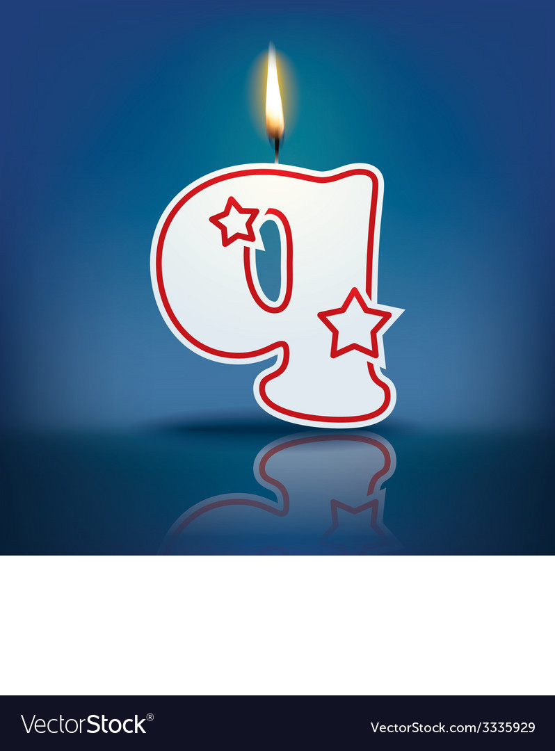 Candle letter q with flame vector | Price: 1 Credit (USD $1)