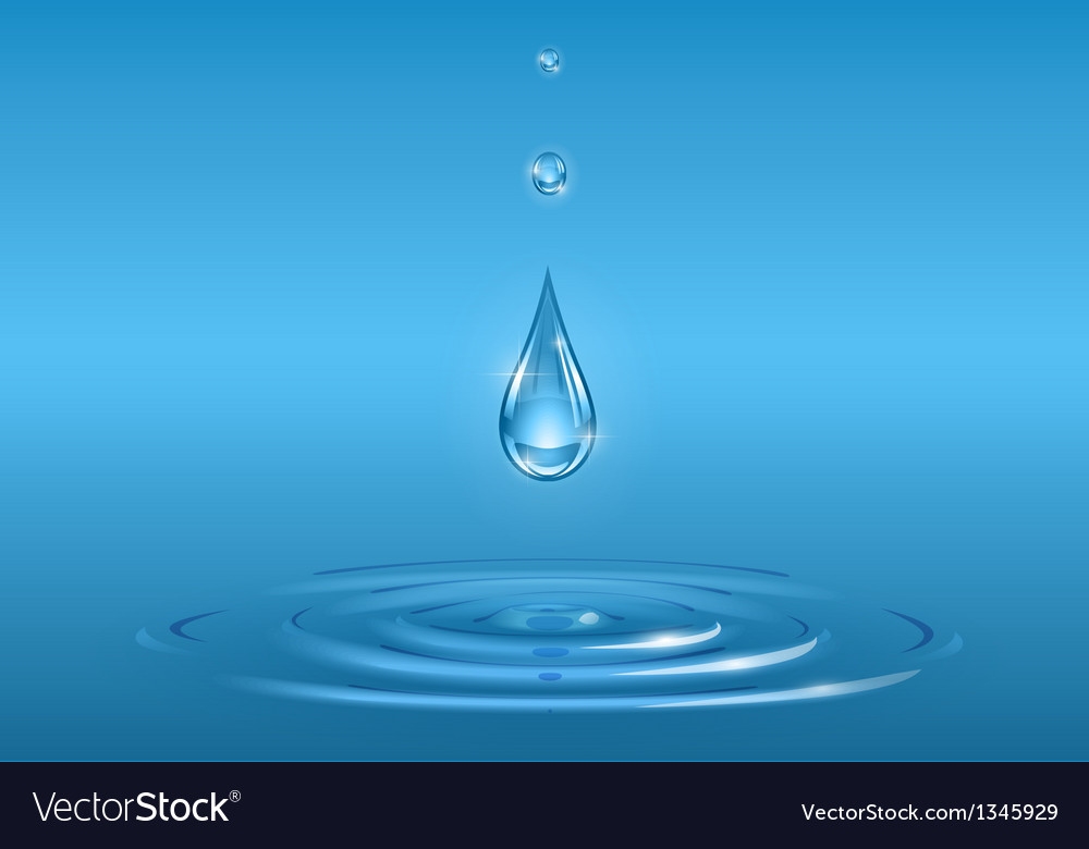 Drops falling into pure water vector | Price: 1 Credit (USD $1)