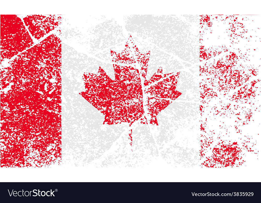 Flag of canada with old texture vector | Price: 1 Credit (USD $1)