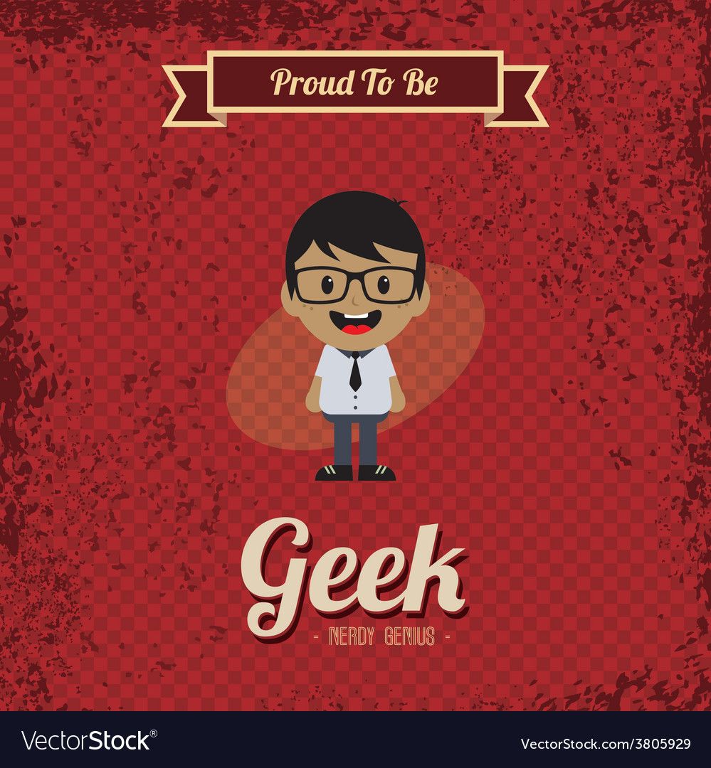 Genius geek retro cartoon vector | Price: 1 Credit (USD $1)