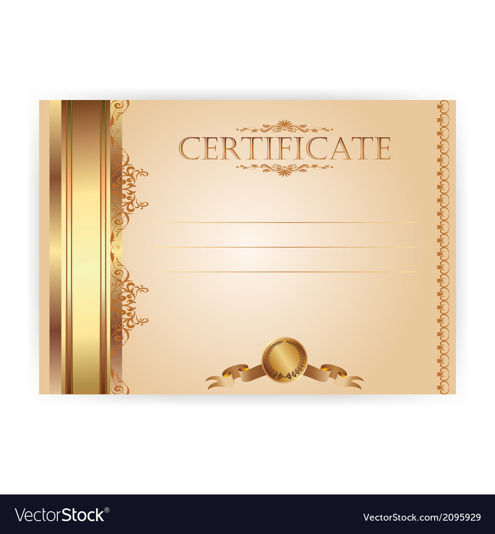 Horizontal royal certificate with a laurel wreath vector | Price: 1 Credit (USD $1)