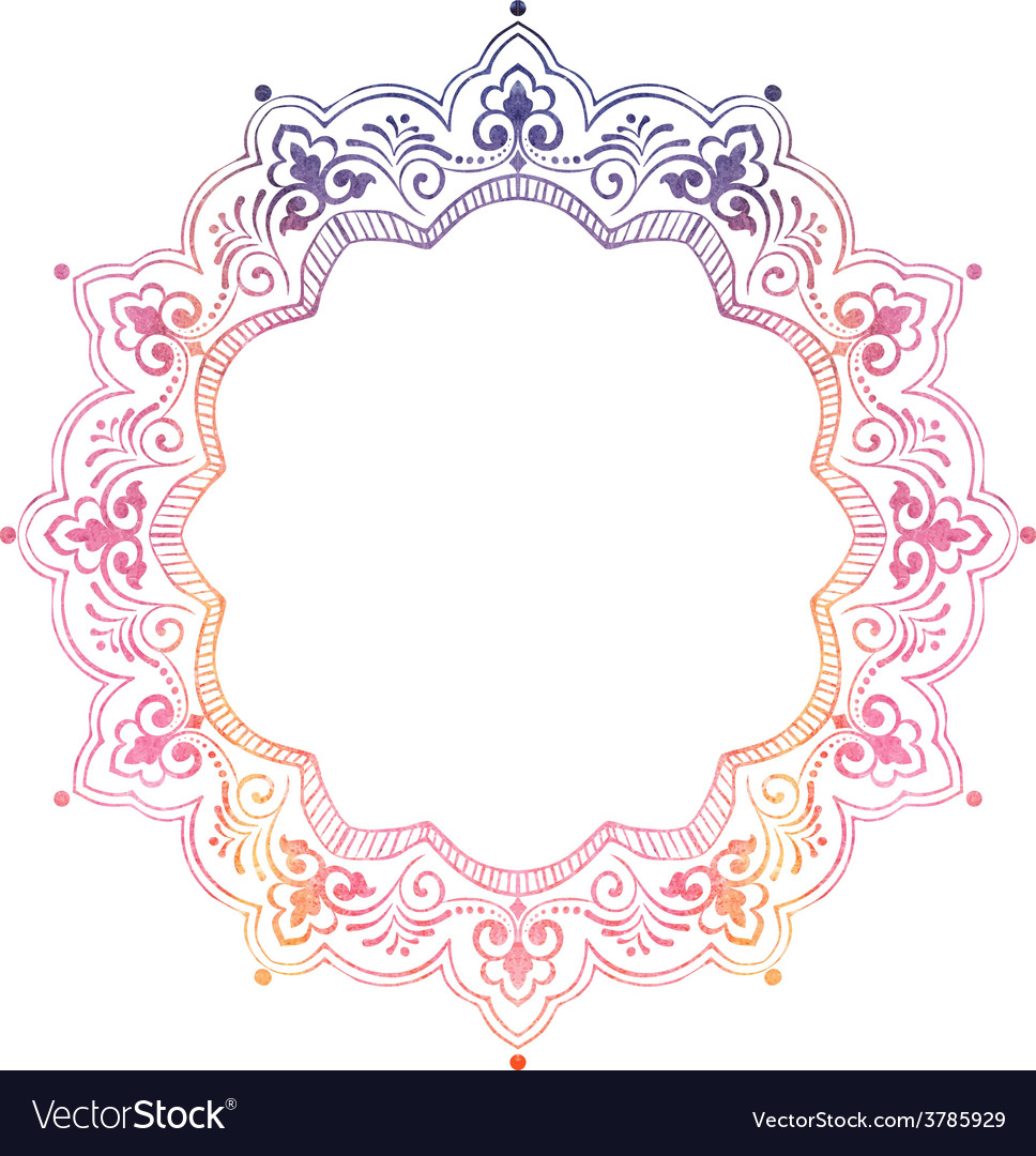 Ornamental round lace with damask and vector