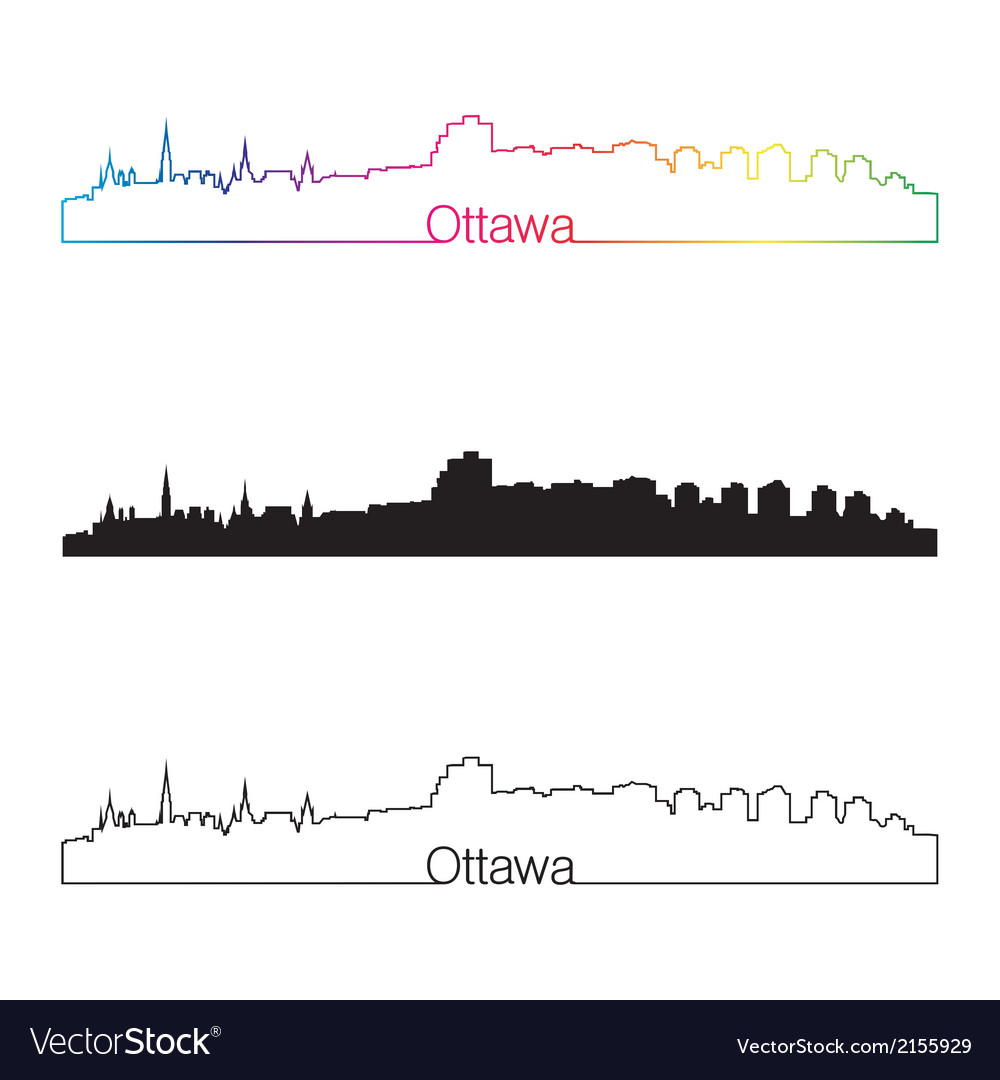 Ottawa skyline linear style with rainbow vector | Price: 1 Credit (USD $1)