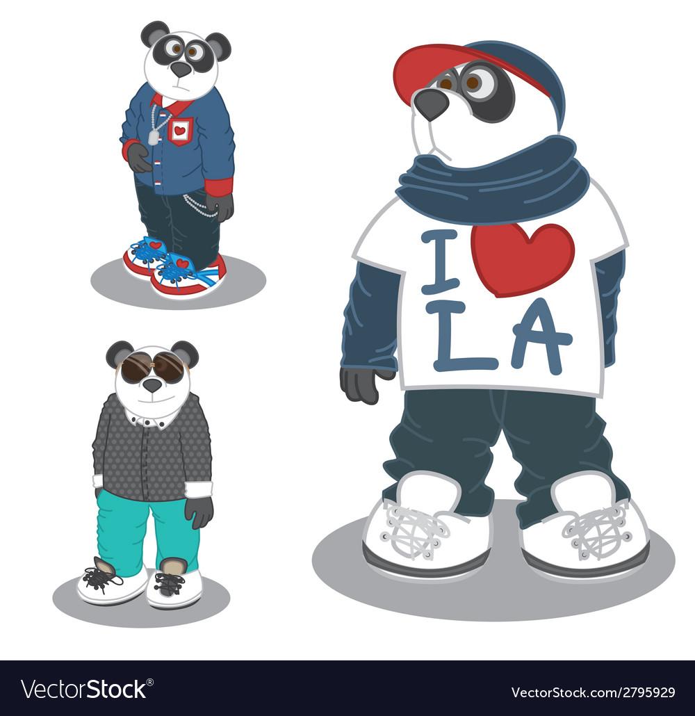 Panda lifestyle fashion 3 vector | Price: 1 Credit (USD $1)