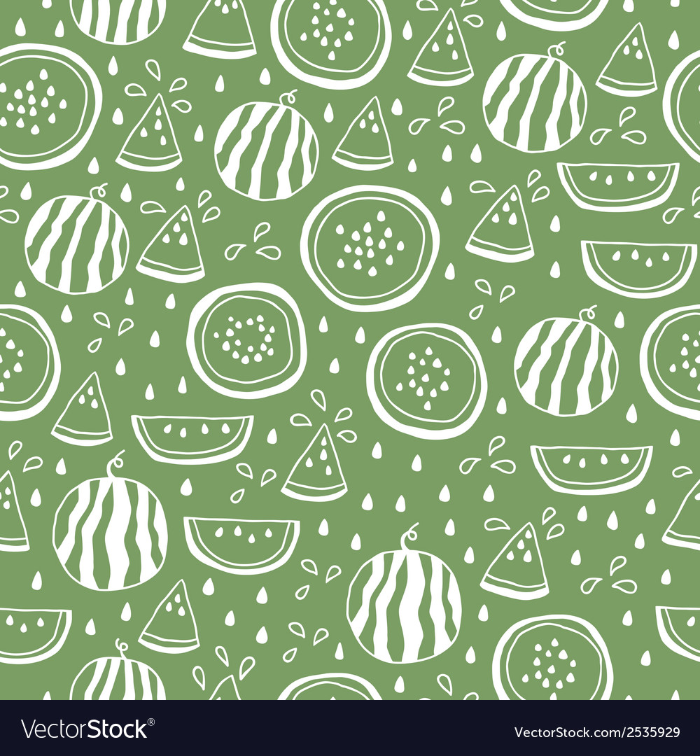 Seamless pattern of color hand drawn watermelons vector | Price: 1 Credit (USD $1)