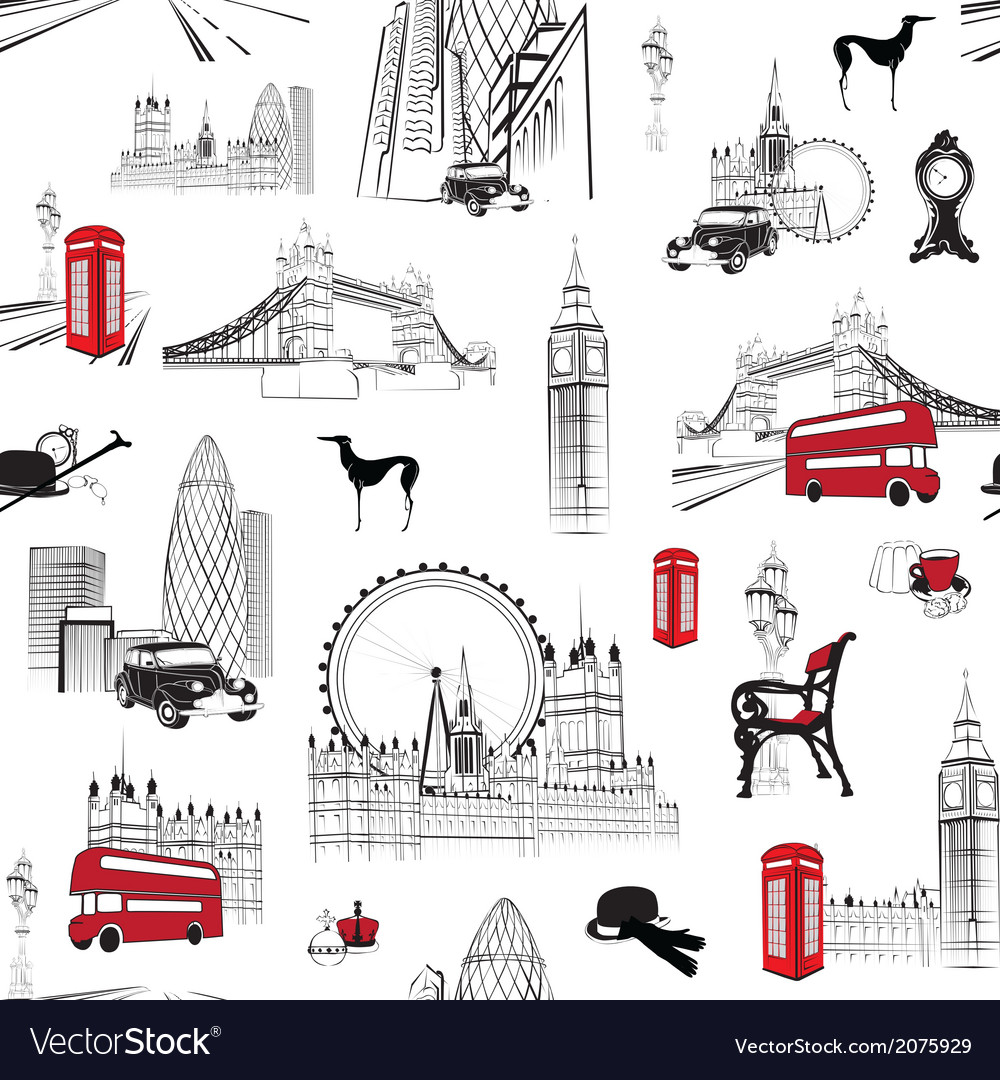 Seamless pattern with english miniatures vector | Price: 1 Credit (USD $1)