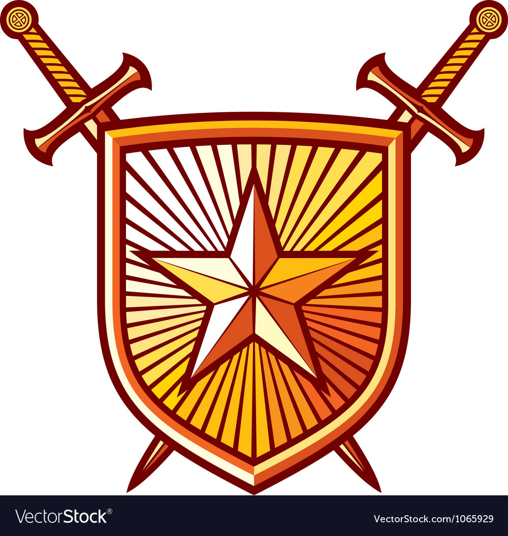 Star shield with crossed swords vector | Price: 1 Credit (USD $1)