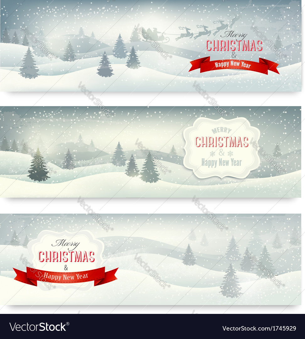 Three christmas landscape banners vector | Price: 3 Credit (USD $3)
