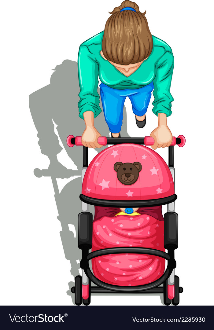 A topview of a mother pushing a stroller with a vector | Price: 1 Credit (USD $1)
