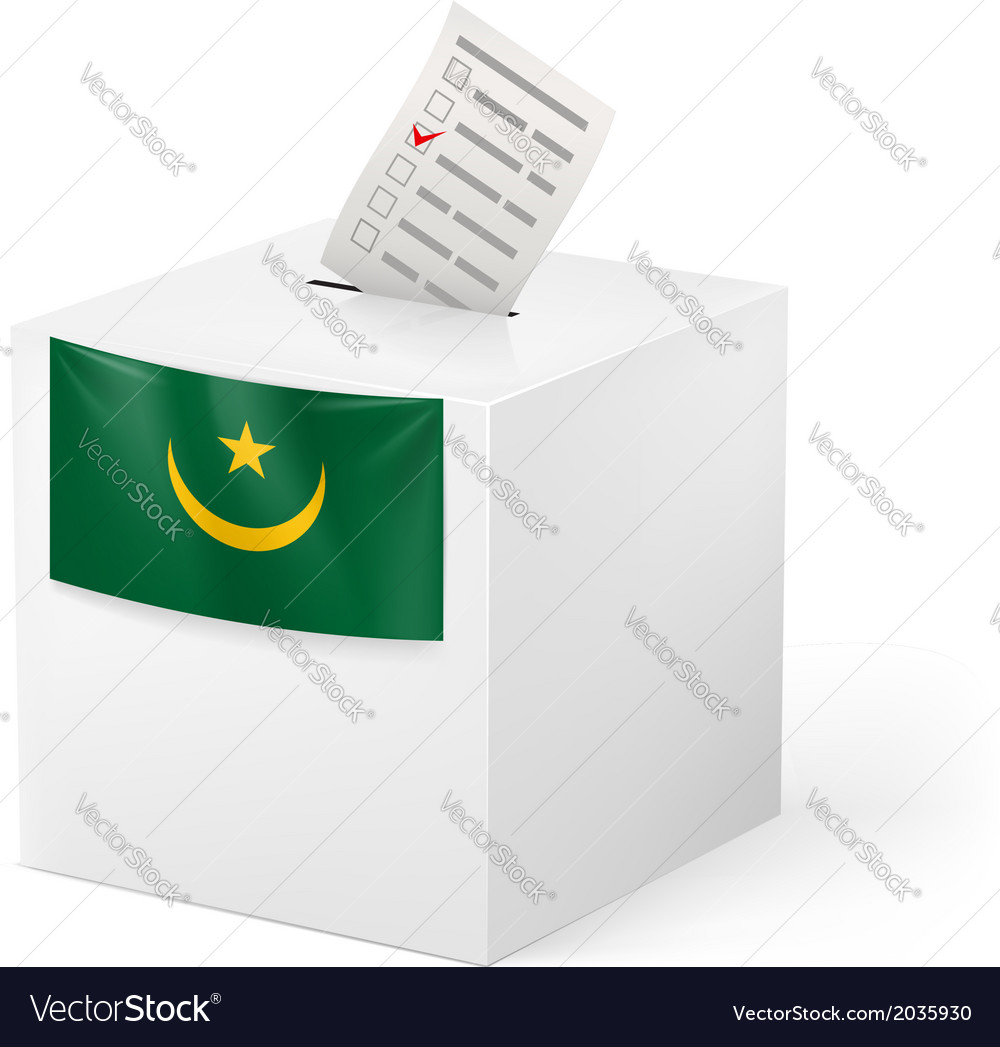 Ballot box with voting paper mauritania vector | Price: 1 Credit (USD $1)
