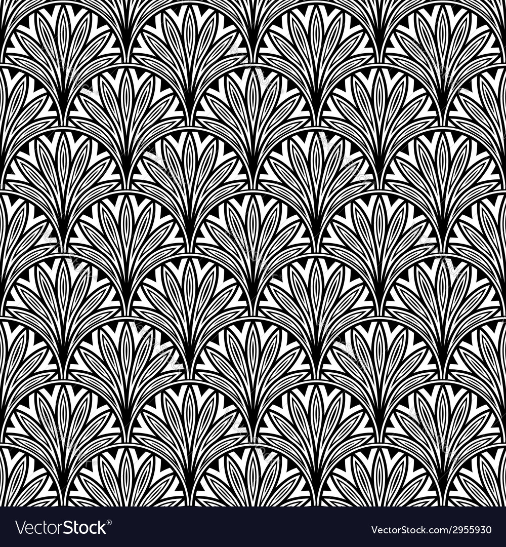 Decorative floral seamless pattern with black vector | Price: 1 Credit (USD $1)