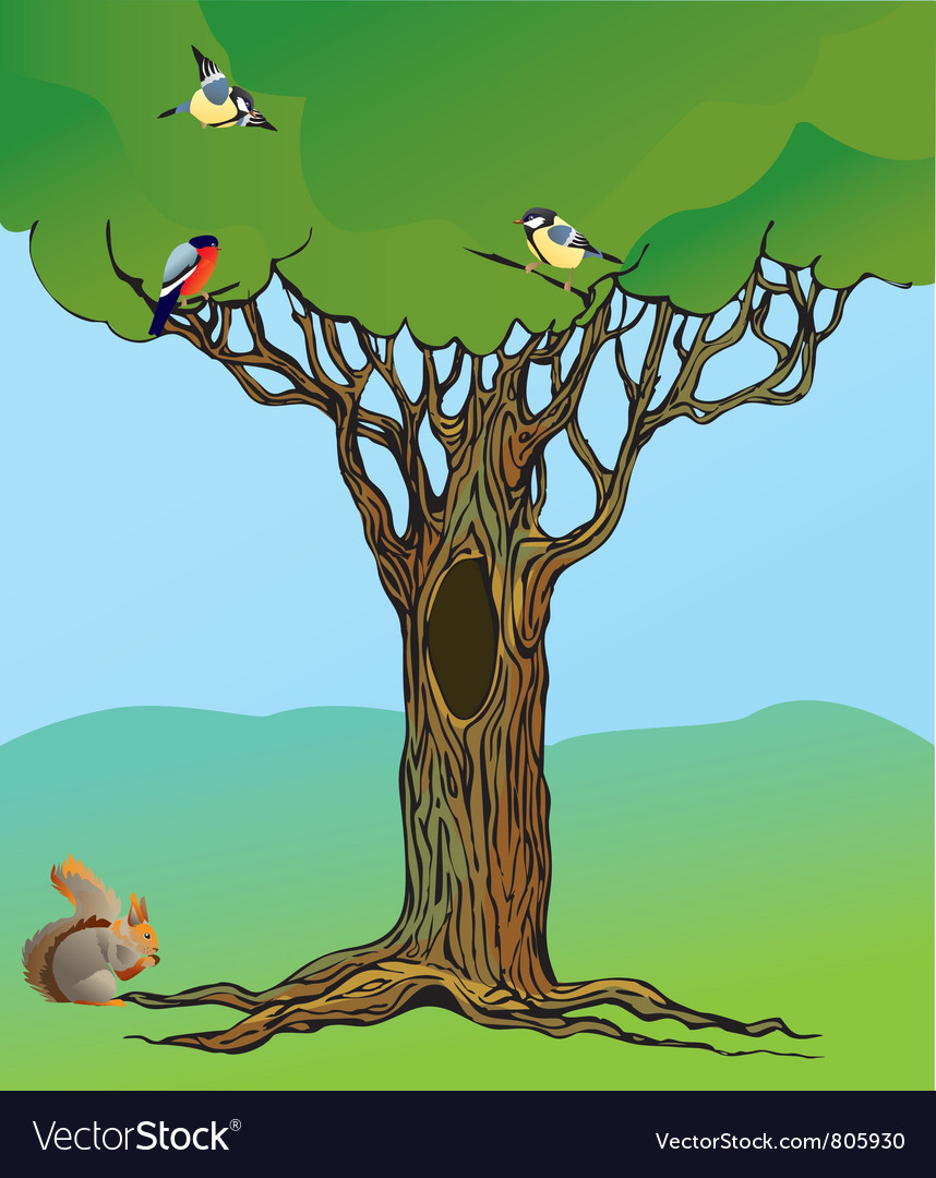 Fairy-tale rooted oak tree vector | Price: 1 Credit (USD $1)
