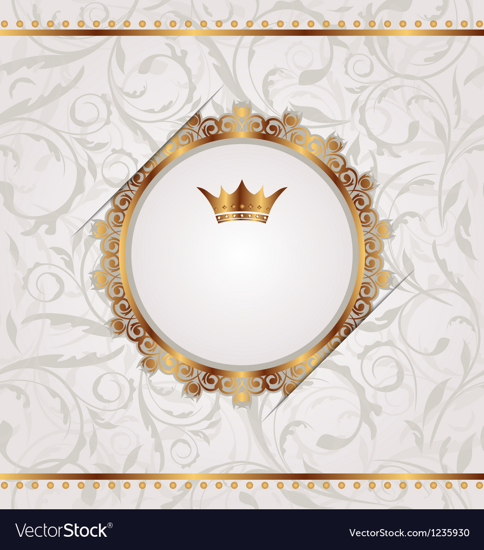 Golden vintage with heraldic crown seamless floral vector | Price: 1 Credit (USD $1)