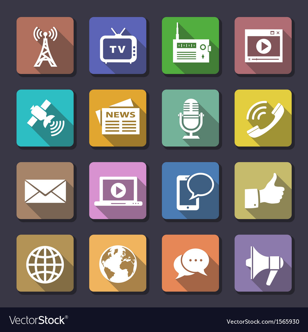Media icons set vector | Price: 3 Credit (USD $3)