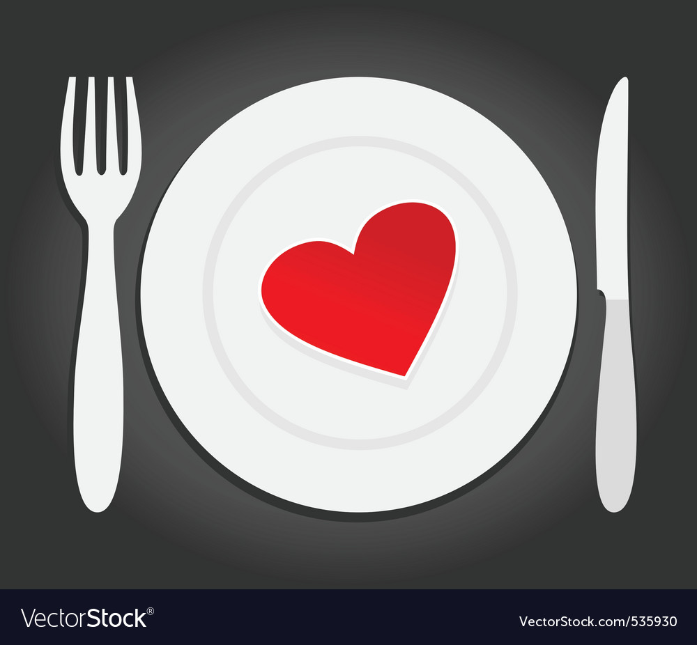 Red heart dinner vector | Price: 1 Credit (USD $1)
