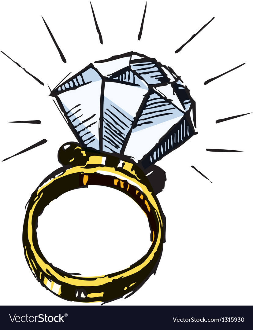 Ring with a big sparling diamond vector | Price: 1 Credit (USD $1)