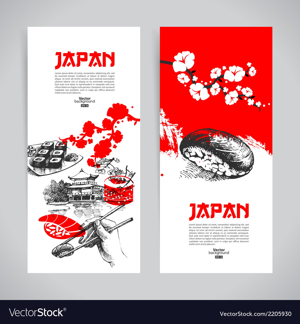 Set of japanese sushi banners vector | Price: 1 Credit (USD $1)