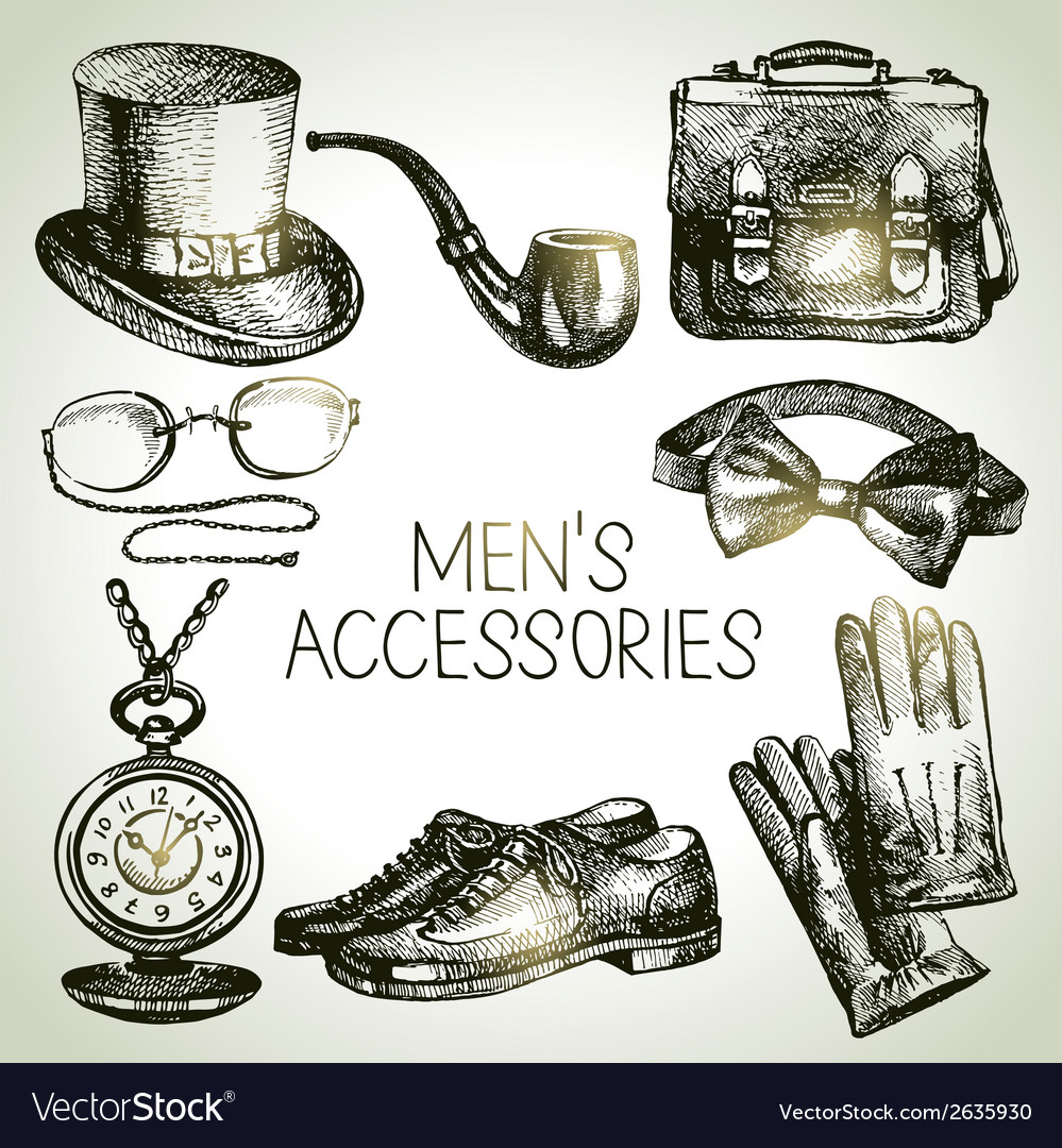 Sketch gentlemen accessories hand drawn men set vector | Price: 1 Credit (USD $1)
