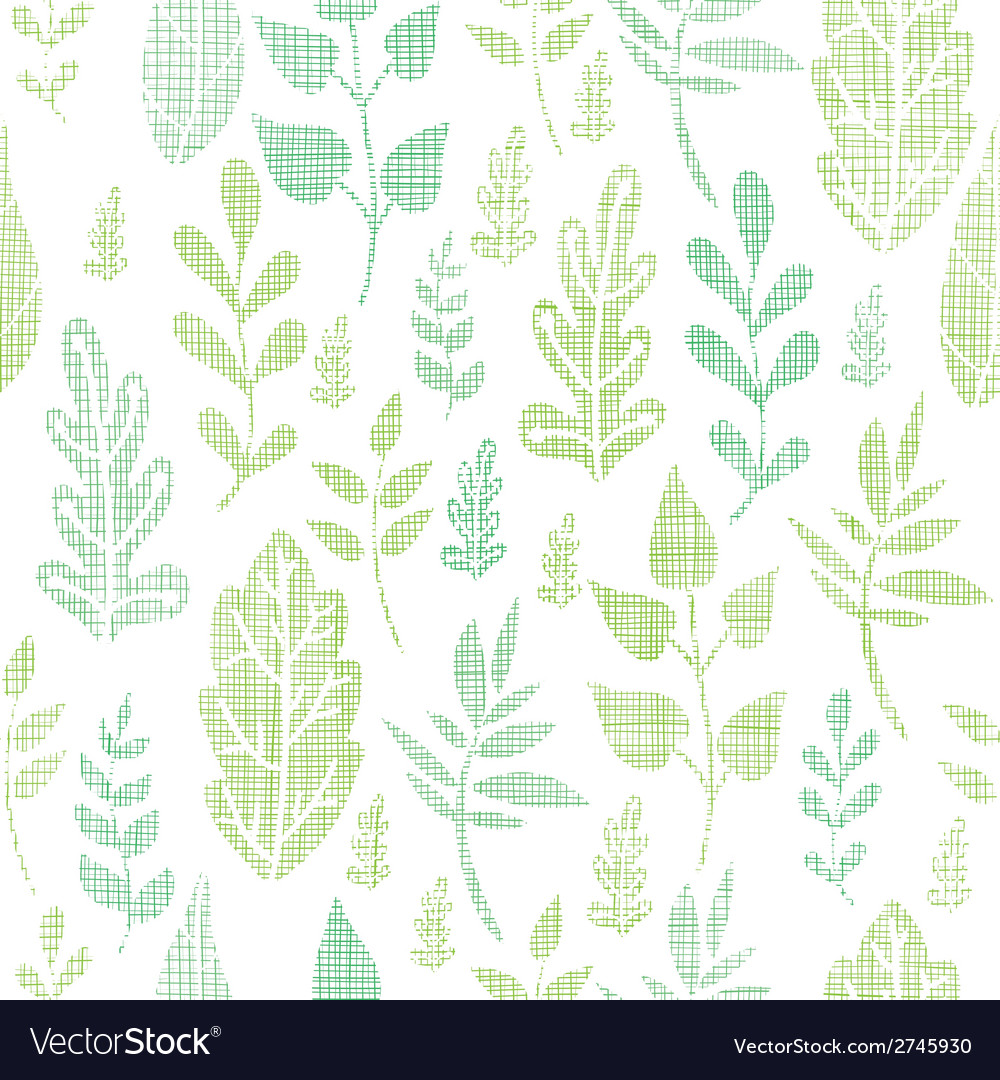 Textile textured spring leaves seamless pattern vector | Price: 1 Credit (USD $1)