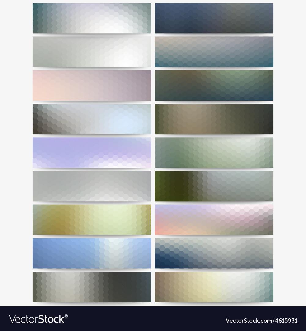 Abstract hexagonal headers set blurred design vector | Price: 1 Credit (USD $1)
