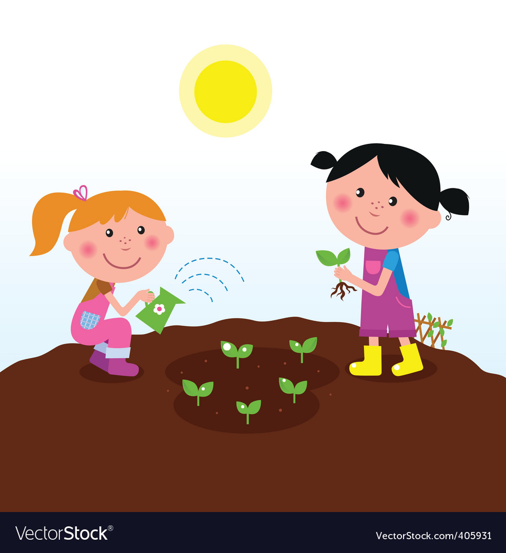 Children in garden vector | Price: 1 Credit (USD $1)