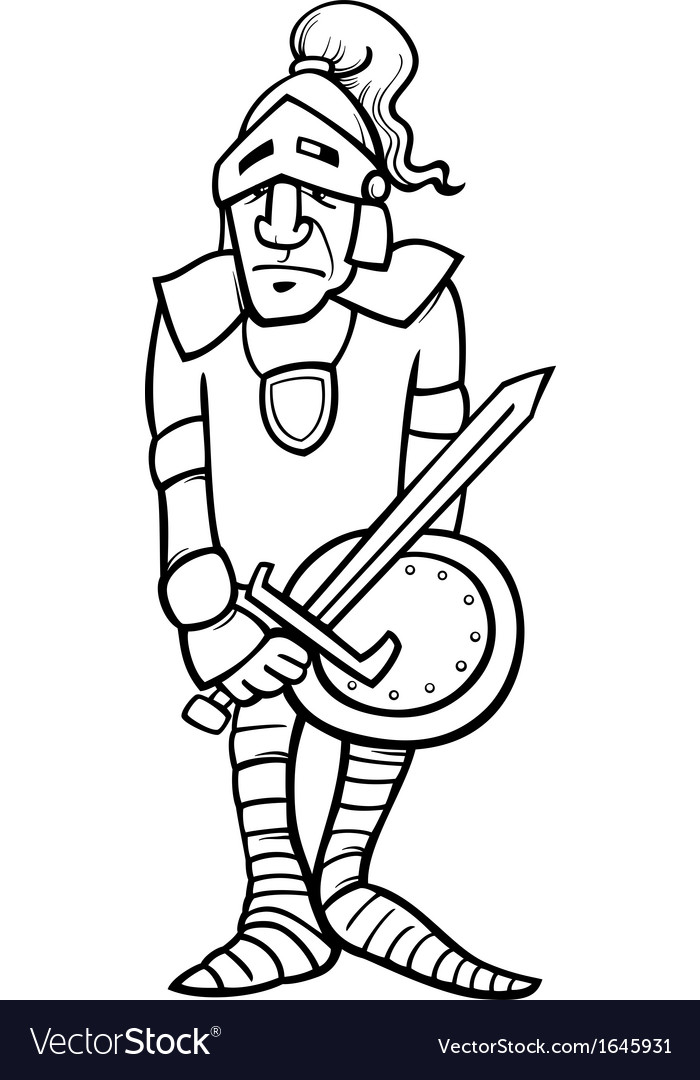 Knight with sword cartoon coloring page vector | Price: 1 Credit (USD $1)